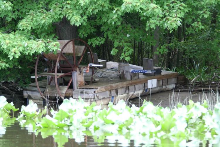 A homemade pontoon boat